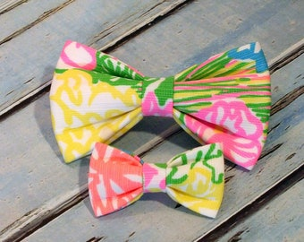 Lilly Pulitzer Hibiscus Stroll Dog bow, Cat bow tie, pet bow tie, collar bow tie, wedding bow tie