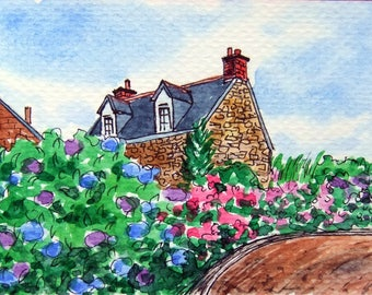 ACEO Original Watercolor and Ink-Countryside Spring and Cottage/Flowers Garden/France