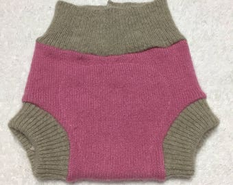 NEWBORN Upcycled 100% Wool Soaker pink and tan