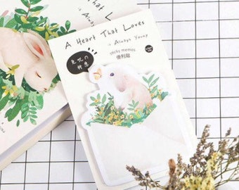 Cute Kawaii Bunny Rabit Sticky Notes Index Notes for Planners Notebooks