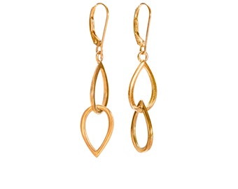 14KY Gold Small Double Waterdrop Earring
