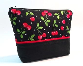 Retro Cherry Makeup Bag, Rockabilly Makeup Bag, Pinup Makeup Bag, Make up Storage, Travel Bag, Edgy Makeup Bag, Toiletry Bag