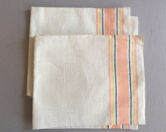 LINEN Tea Towel Kitchen Cloth Coral Pink Light Yellow Black Stripes New Old Stock Made in Poland