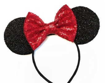 Red Minnie Ears - Minnie Mouse Ears - Mickey Ears - Sparkly Mickey Ears Headband -  Sparkle Mouse Ears - Sparkle Minnie Ears - Minnie Party