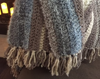 Afghan Blanket made with Chunky Soft Yarn in Neutral Tones