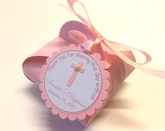 10 Baptism Gift Boxes, Personalized Pink First Communion, Confirmation, Christening, Baptism Decoration, Baptism Favor Boxes, Baptism Favors
