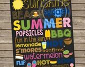8x10 Summer Chalkboard Subway Art Printable Sign *INSTANT DOWNLOAD*