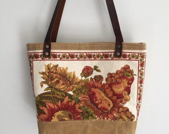 Waxed canvas bag, sunflower bag, tote bag, floral tote bag, April Cornell fabric