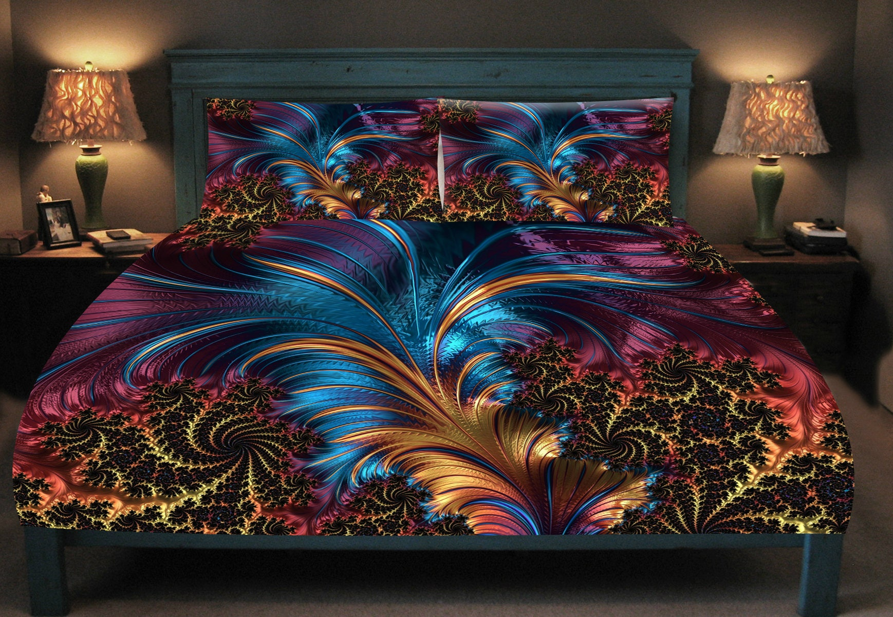 Peacock Comforter King Size: Majestic Peacock Feather Abstract Duvet Cover Set, Peacock