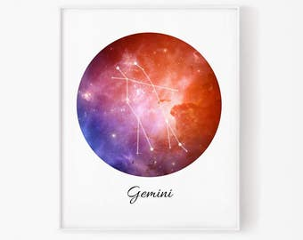 Zodiac Gemini, Gemini space, Space,Gemini Constellation, Gemini digital, Zodiac print, Zodiac Constellation, Stars constellation