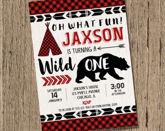 lumberjack birthday invitation, wild one birthday, BOY first birthday, teepee, bear invitation, buffalo plaid woodland printable invitation