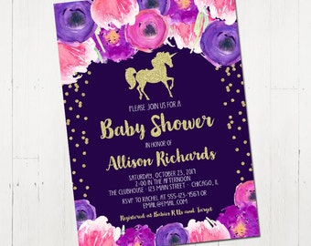 unicorn baby shower invitation girl printable unicorn shower, Baby shower invitations