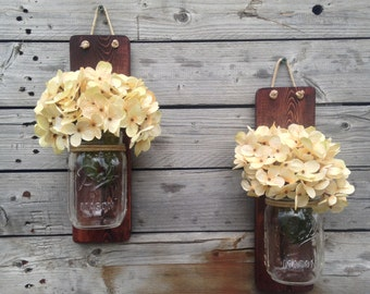 Rustic Mason Jar Wall Sconce Country Decor Set of Two, Wall Hanging, Hanging Vase, Wall Decor, Home Decor, with Optional Hydrangea Sprays