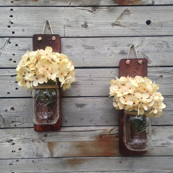 Rustic Mason Jar Wall Sconce Country Decor Set of Two Wall