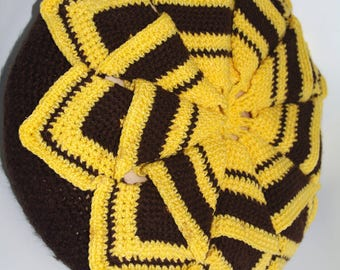 Hand knitted decorative yellow&brown pillow Big cushion 80's wool granny knitted vintage pillow case hand made cottage chic shape of flower
