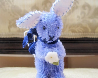 Tiny Periwinkle Mohair Rabbit Ornament with Flower