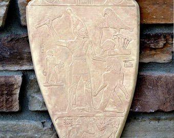 """History Egyptian Palette of Narmer Sculptural wall relief  www.Neo-Mfg.com 15"""""""