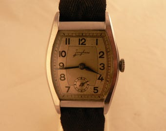 Vintage Junghans Wrist Watch 15 J Caliber 59 Tonneau All Stainless Steel Germany 1930's