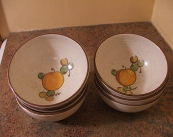 Set of Six (6) Vintage 1960s Metlox Poppytrail Tropicana Deep Soup / Cereal Bowls