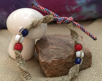 Hemp and Paracord Bracelet/Anklet