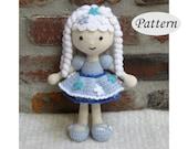 PATTERN - Snowflake Winter Girl Doll - Amigurumi - Crochet Doll - Photo Tutorial - PDF