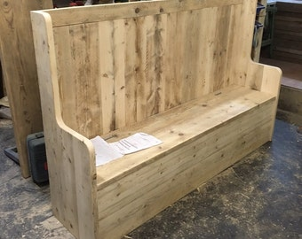 Reclaimed Wood Settle with Integrated Storage