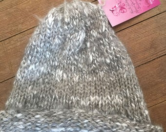 Knit Rolled Brim Angora/Yak Hat