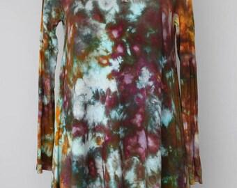 Tie dye tunic Women's longsleeve sleeve ice dye - Size Small - Chaotic Adventure crinkle