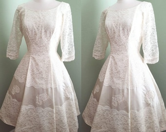 1950's Ivory Satin and Lace Wedding Dress
