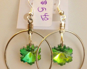Swarovski Snowflake Green Tinted Faceted Charms Dangle in Silver Hoops from French Hook Earrings
