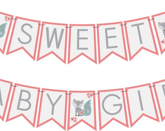 Girl Fox Baby Shower Banner PRINTABLE