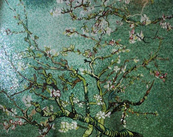 Green Flowering Tree Glass Mosaic Mural