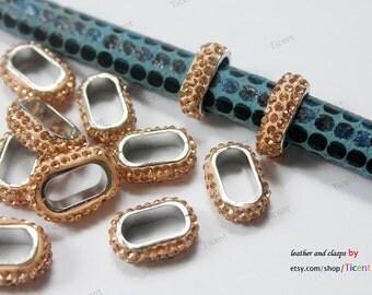 4PCS Coral Rhinestones Slider For Licorice Leather, 12x6.5mm Hole Slider LS131