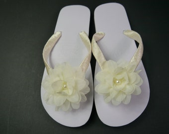 Wedding, Beach, Flip Flops, Sandals, White, Hand Decorated with Satin Ribbon and a Chiffon Flower with Pearl Centre, Comes with Organza Bag
