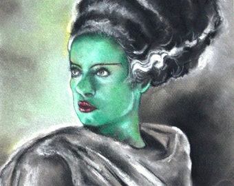 Bride of Frankenstein Pastel Drawing