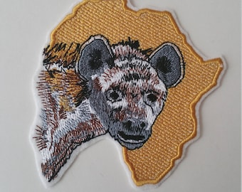 Large hyena iron on or sew on patch Africa iron on patch Africa map patch Hyena patch 10 x 10 ( 3.94'' x 3.94'') hyena patch Africa patch
