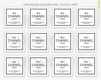No1 Chanel Paris Party 2 Inch Square Tags / Customized DIY Printable