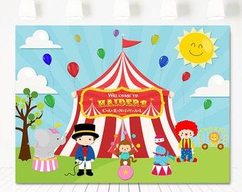SALE Carnival birthday backdrop, Circus Backdrop Banner,Birthday Table Backdrop,Photo prop, big top Birthday backdrop, dessert table sign