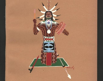 "Original, Native American, Art, Print, Kiowa Five. Pochoir silkscreen of watercolor, Hokeah, ""Chasing Evil Spirits"", KIA05"