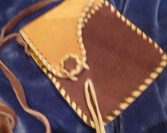 Hippie Purse Vintage Cross Body or Shoulder Bag Passport Holder Small Leather Sholuder Bag 80's