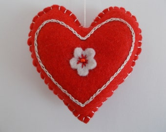 Felt Heart Ornament, Red/White Embroidered Heart, Felt Pincushion, Wedding Heart Decor, Car Ornament