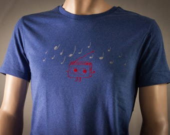 Funny T-Shirt organic tee for Men - shirt in stone with cute red radio and blue music notes graphic tee for dancers flock print