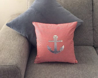 ANCHOR Silver Foil - Red and White Stripe Cushion