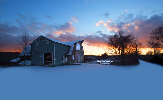Shaw Farm Barn Sunset in Winter Fine Art Photograph 5x7 8x12 5x7 wood