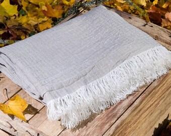 Grey linen blanket  - 100% Linen Blanket - Linen blanket - Bedspread - Throw blanket - Picnic blanket - Beach blanket - Natural gift