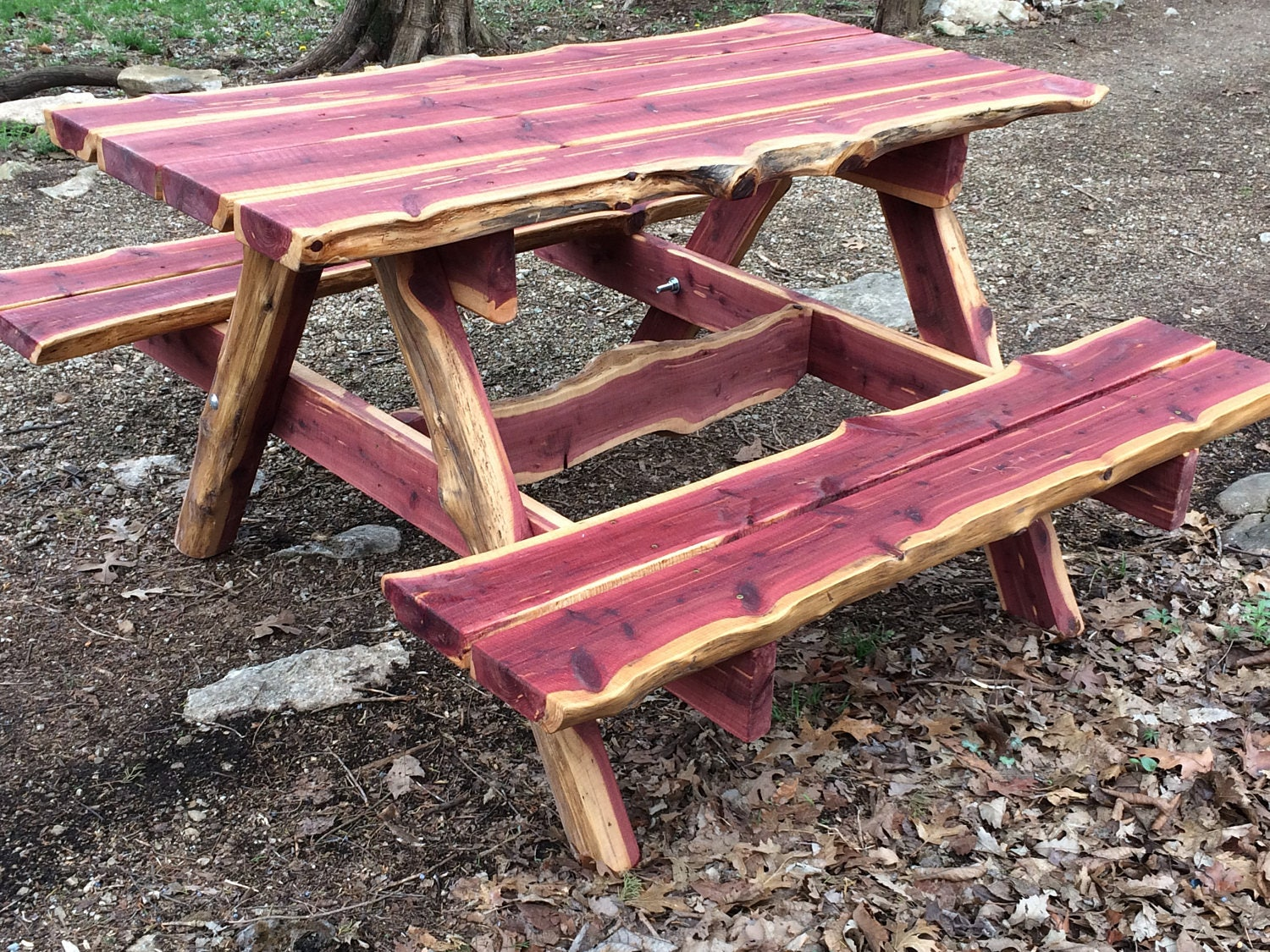 5 Ft Live Edge Eastern Red Cedar Picnic Table   Rustic Unique Picnic Table    Live Edge Picnic Table   Outdoor Dining   Poverty Gulch Rustics