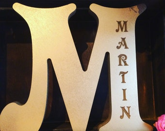 Wooden letter gold personalised presents free standing  wood, personal, girls, gift, name, letters, pink handmade
