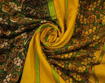 Antique Silk Saree Scarf Vintage Beautiful Silk Sari Stole Women Shawl Hand Printed Silk Sarong Curtain Drape PSS2420