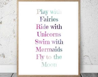 Playroom Decor, Digital Print, Rainbow, Unicorns Wall Art, Gift, Printable Decor, Playroom Print, Printable Art, Instant download
