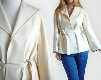 Vintage 80's Felt Wool Belted Blazer Wrap Jacket in Cream White